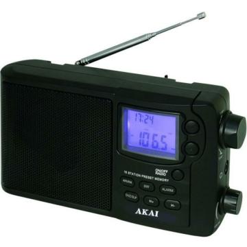 AKAI APR-2418 digitális világvevő kisrádió nagy LCD kijelzővel, ébresztő, elalvás, óra funkciókkal