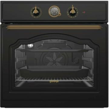 Gorenje BO7732CLB beépíthető fekete rusztikus sütő 3 év garancia kétszintes kihűzható teleszkópos sütősin