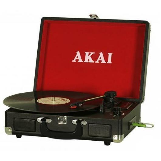 Akai ATT-E10 bakelit lemezjátszó beépített hangszórókkal, USB, SD felvételi lehetőséggel