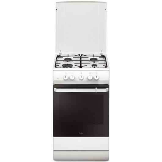 Amica 55346 fehér színű 50 cm széles gáztűzhely fém tetővel