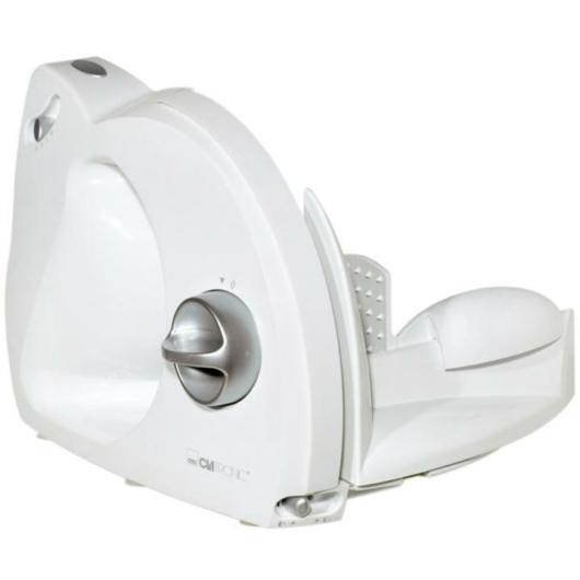 Clatronic AS 2958 szeletelőgép fehér színben Speciális rozsdamentes acél penge Erőteljes motor 3 lépéses kapcsoló Biztonsági kapcsoló Fokozatmentesen állítható vágási vastagság A vágási vastagság jelzése Élelmiszer tartó ujjvédővel Cserélhető csúszka Össz