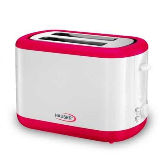 Hauser T244R kenyérpirító fehér-piros színben 800W-os