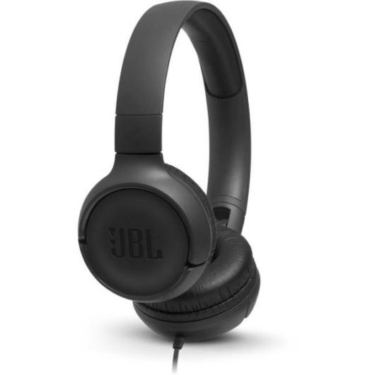 JBL Tune 500 vezetékes fejhallgató fekete színben kényelmes párnákkal PureBass hangzással