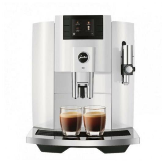 Jura E8 White automata kávéfőző fehér színben 17 különféle kávéital elkészítéséhaz