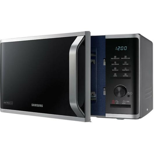 Samsung MG23K3575AS/EO mikrohullámú sütő Heat Wave grillrendszerrel 23 literes 800W-os szürke színben