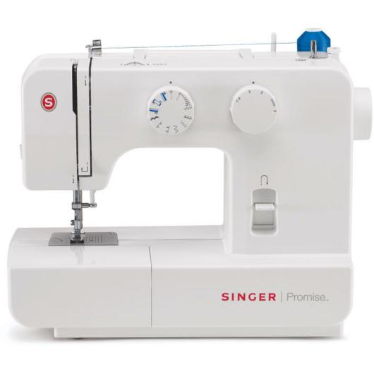 Singer 1409 PROMISE varrógép 9 öltésminta, Könnyű mintakiválasztás, Állítható öltéshosszúság, Állítható cikk-cakk szélesség, 4 lépésés automata gomblyukvarrás, Könnyített befűzés, Automatikus orsózás, Lepattintható varrótalpak, Visszavarró funkció, Szabad