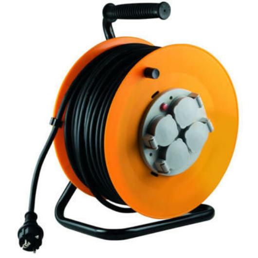 HOME HJR10-30 kábeldob 4 aljzattal 30 méter gumírozott kábel IP44